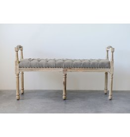 Mango Wood & Cotton Tufted Bench