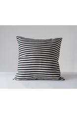 Square Cotton Woven Striped Pillow Black