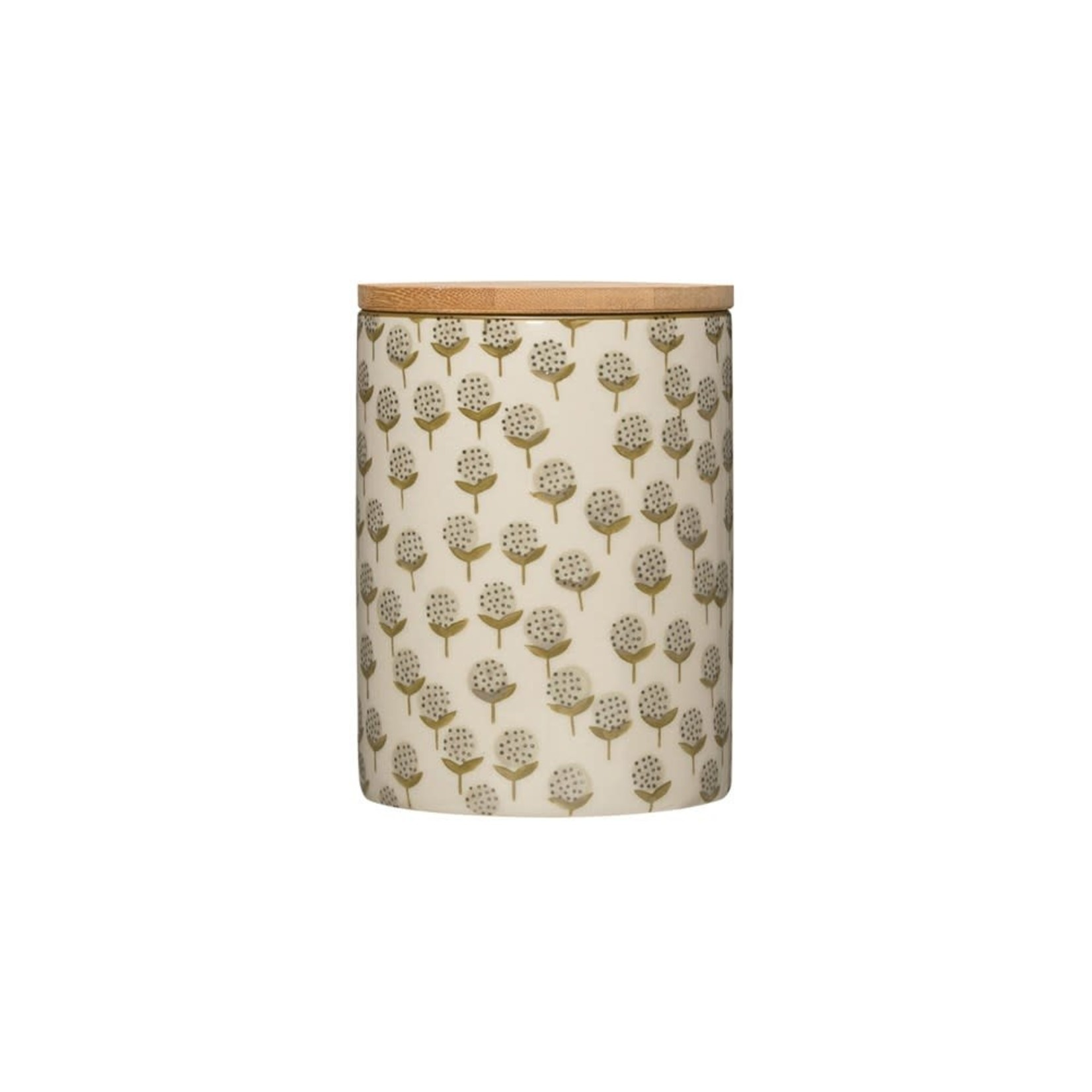 Floral Pattern Stamped Stoneware Canister