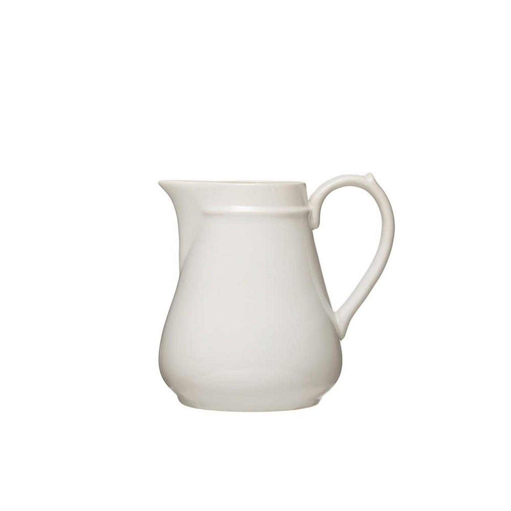 White Vintage Reproduction Stoneware Pitcher