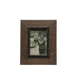 Wood Frame with Black Beads