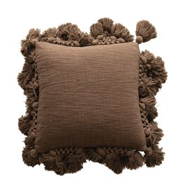 Cotton Crocheted Pillow with Tassels