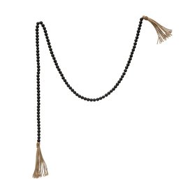 Distressed Black Wood Bead Garland with Tassels