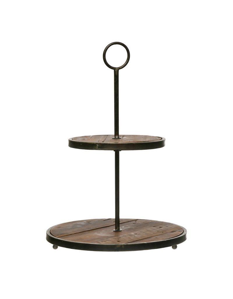 Wood and Metal Two Tier Tray