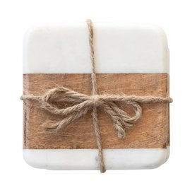 Marble and Acacia Coasters - Set of 4
