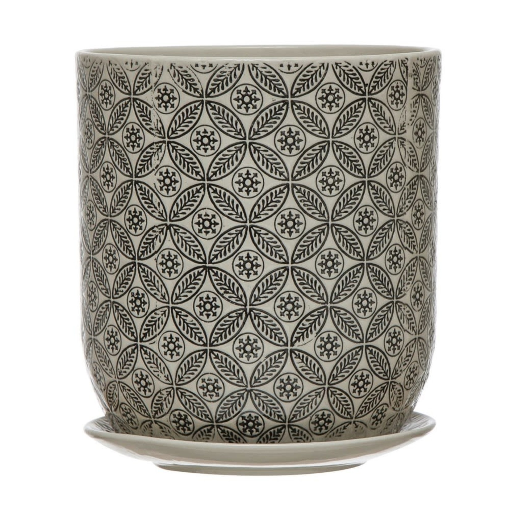 Hand-Stamped Stoneware Pot