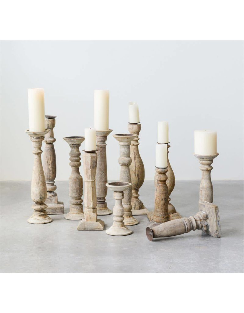 Found Wood & Metal Candle Holder