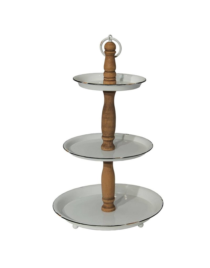 Wood and Enamel 3 Tier Holder MT2535