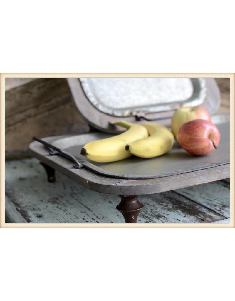 Wood and Metal Footed Tray - 2 Sizes