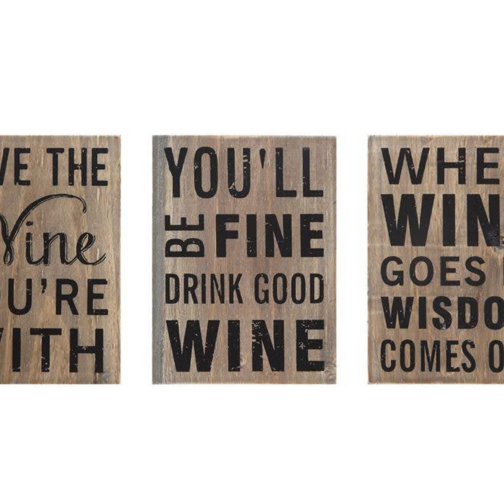 "Wood Block Decor ""Wine"", 3 Styles DA6134A"