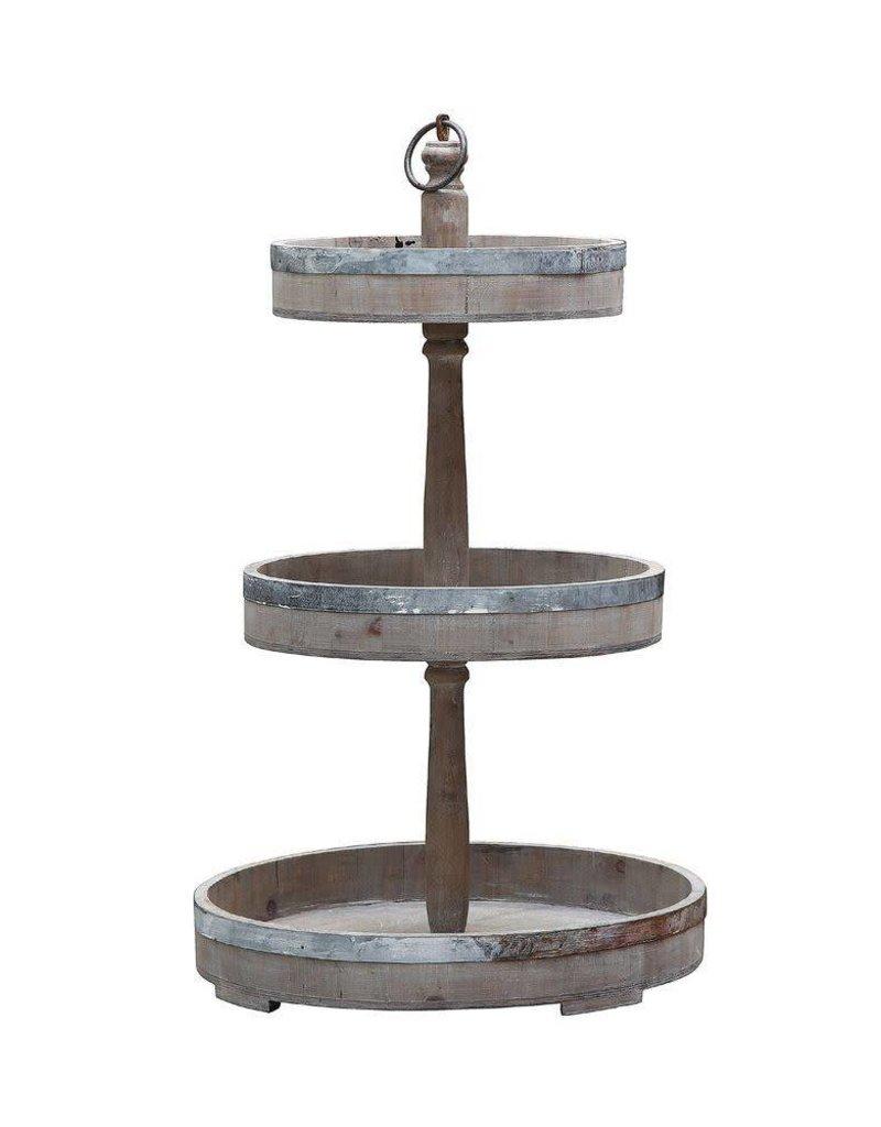 Decorative Wood & Metal 3-Tier Tray DE0574
