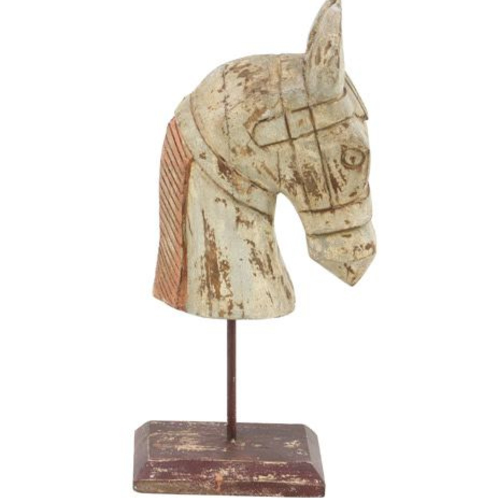 White Wood Carved Horse 29429
