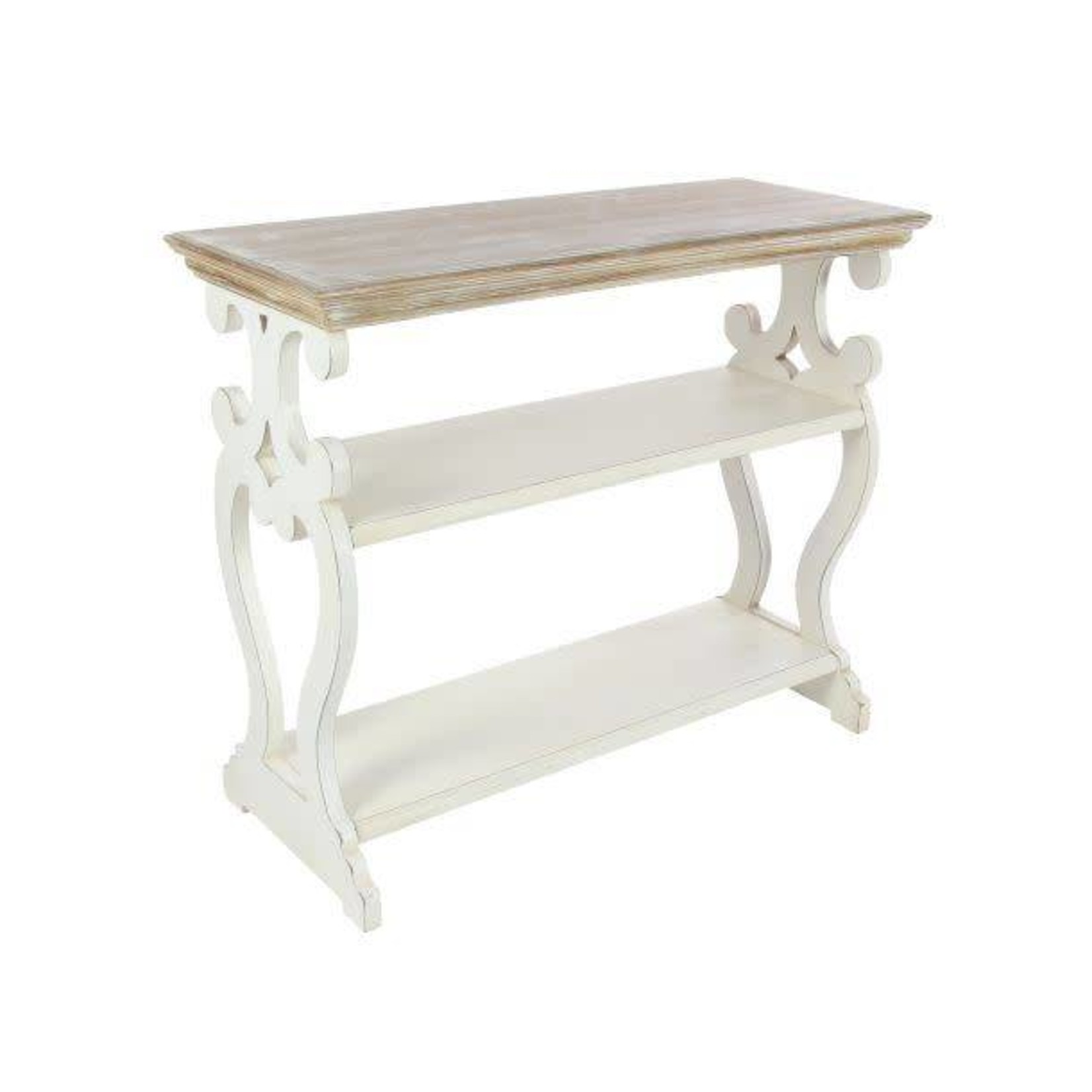 Carved White Wood Console Table 44457
