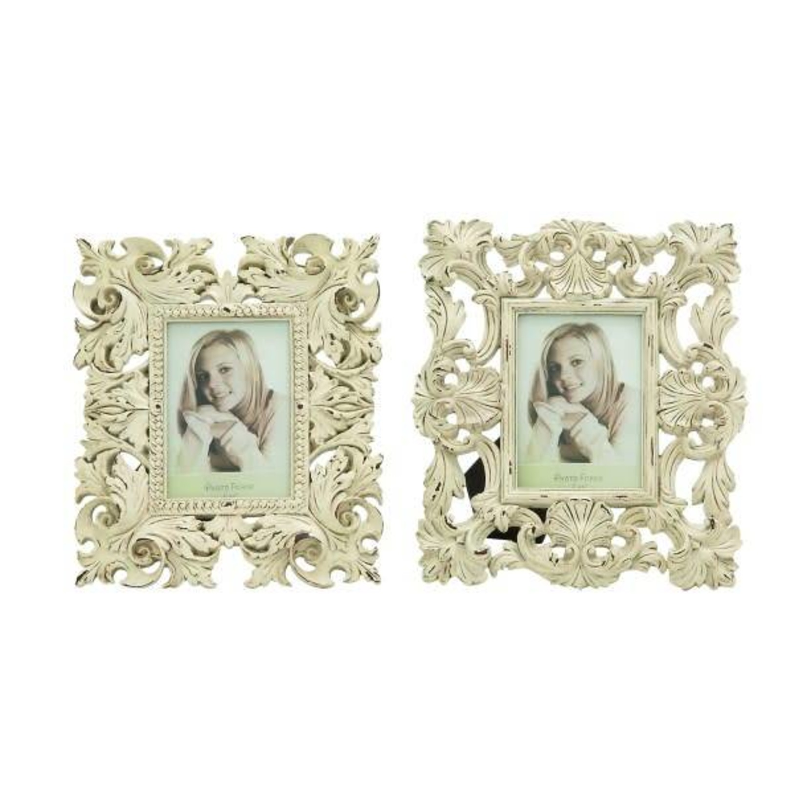 White Wood Carved Photo Frame 4x6 76464