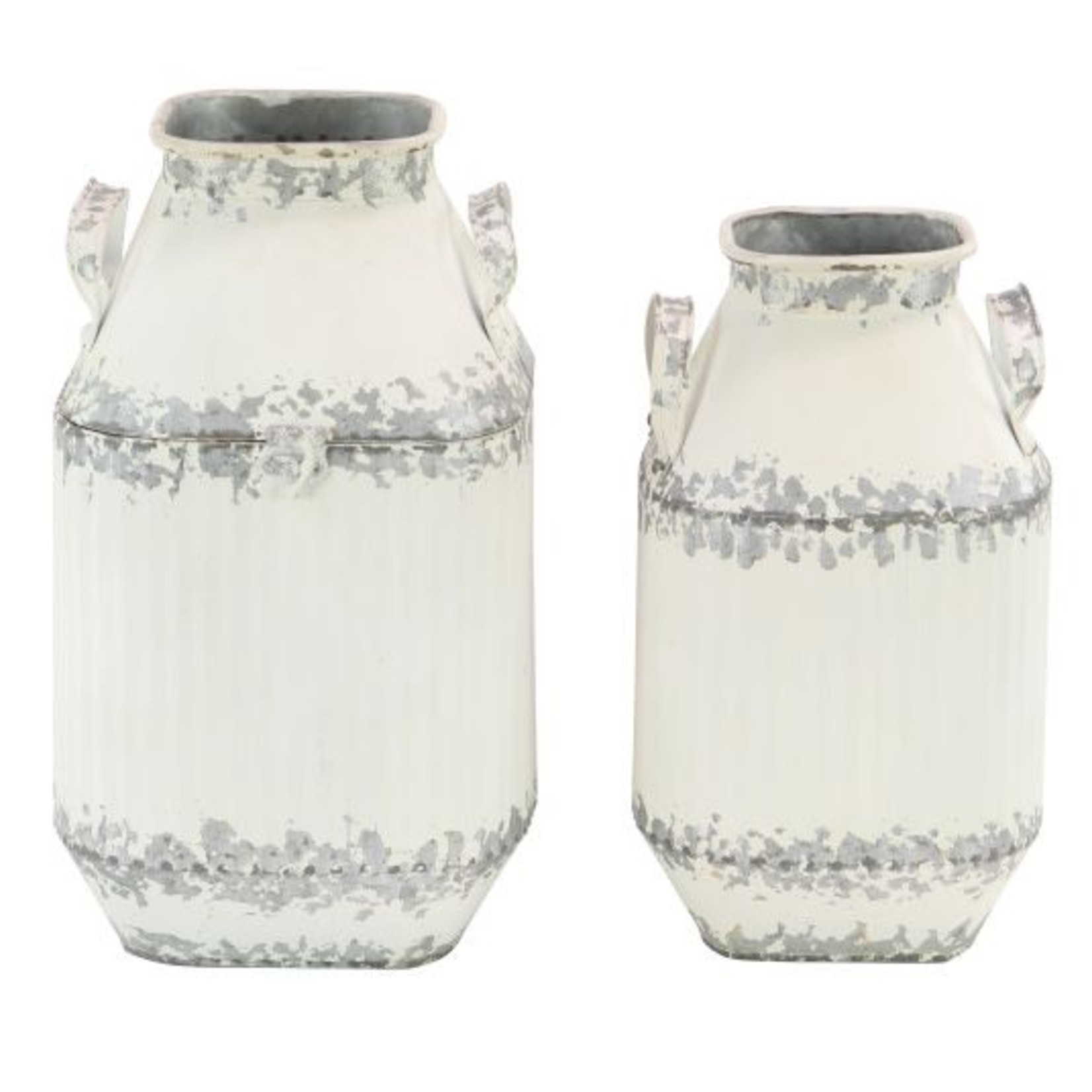 Galvanized and White Milk Can Large 98480