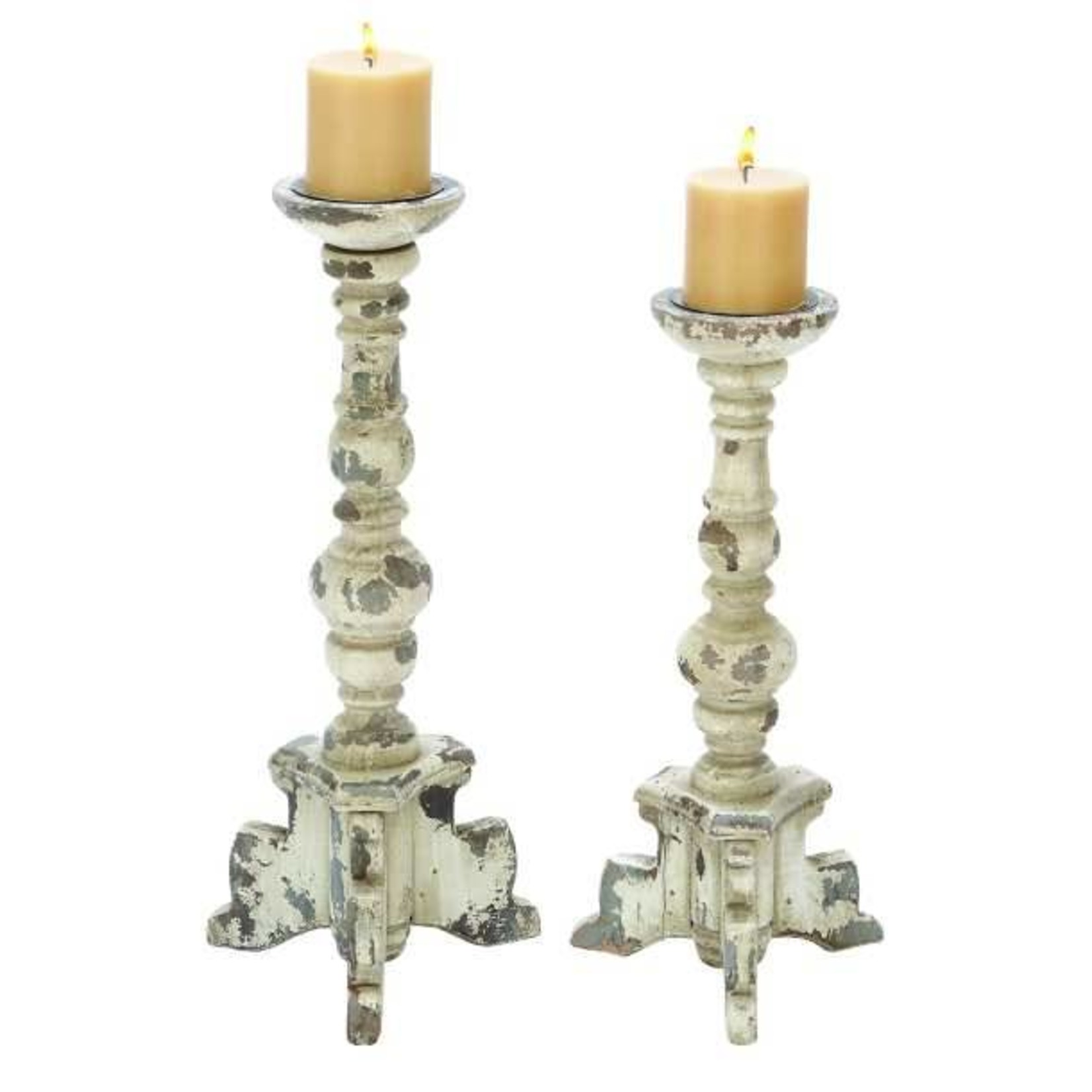 """Distressed Wood Candle Holder 17"""" 20408"""