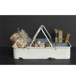 Distressed White with 6 Compartments Tray