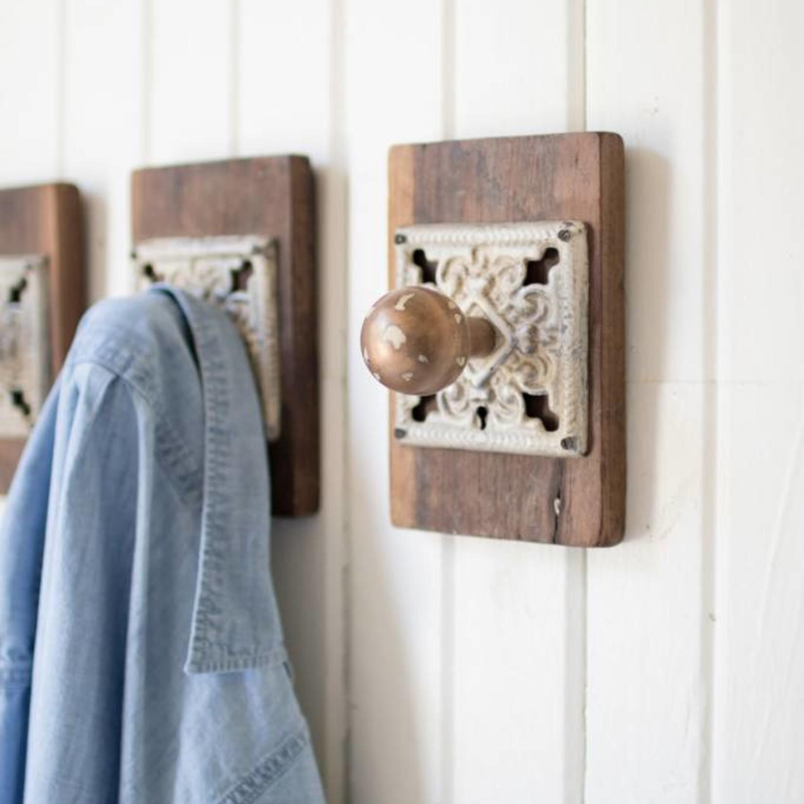 Iron and Wood Door Knob Hook NRAR1072
