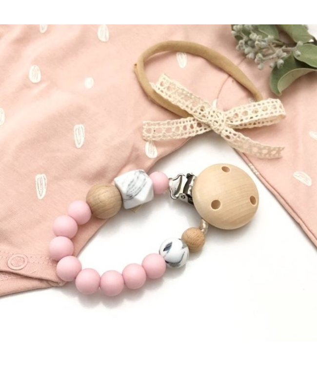 SILICONE DUMMY HOLDER - MARBLE - PALE PINK