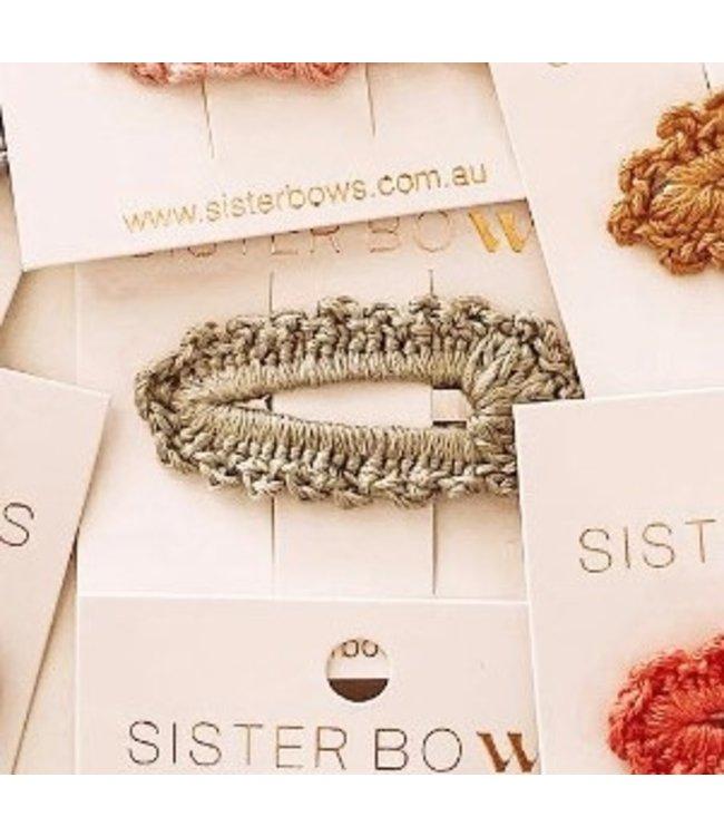 Sister Bows SAGE GREEN - CROCHET CLIP