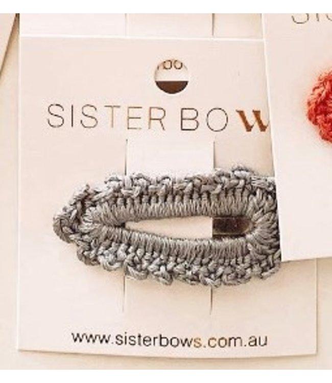 Sister Bows SMOKEY BLUE - CROCHET CLIP