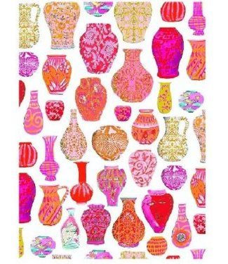 Anna Chandler Designs PINK VASES - TEATOWEL