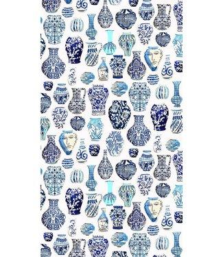 Anna Chandler Designs VASES BLUE & WHITE - CANVAS TABLECLOTH