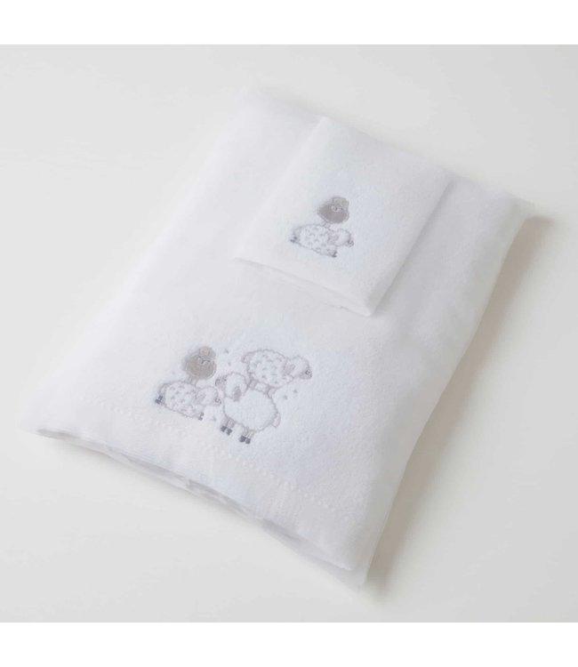 SHEEP BABY BATH TOWEL + WASHER SET