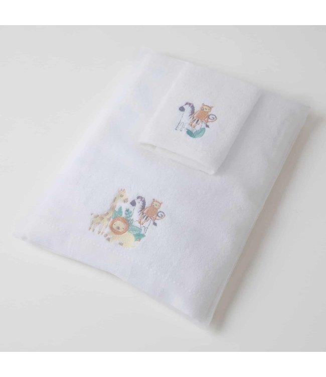 SAFARI BABY BATH TOWEL + WASHER SET
