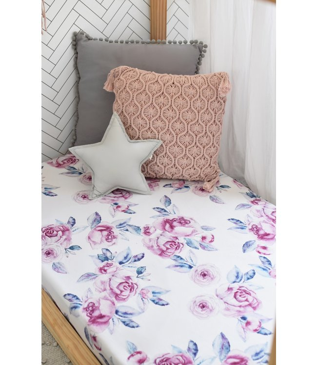 SNUGGLE HUNNY KIDS LILAC SKIES - FITTED COT SHEET