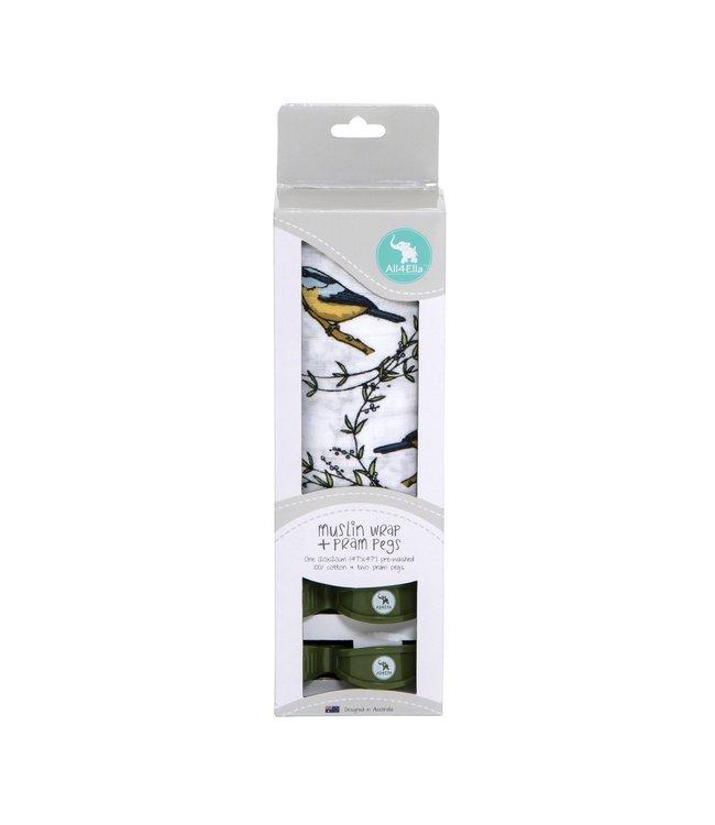 MUSLIN + 2 PRAM PEG BOX SET - BIRD