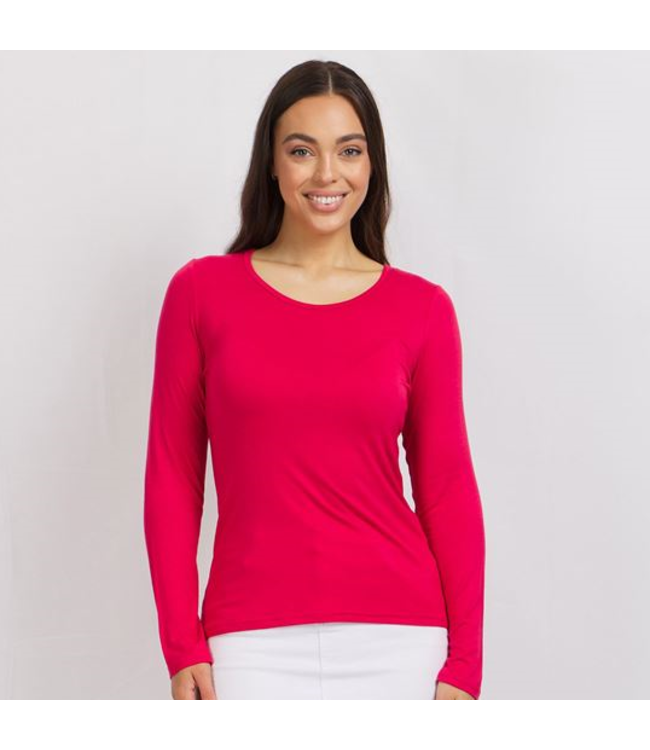 LONG SLEEVE SCOOP NECK BASIC T-SHIRT - RED