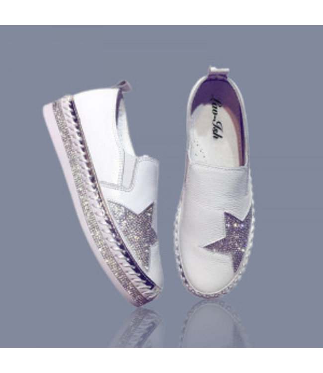 Lav-Ish WHITE LEATHER BLING STAR SNEAKERS