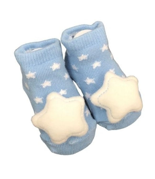 STAR SOCKS WITH RATTLE 0-6MONTHS - BLUE