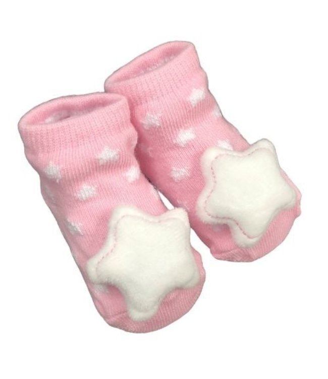 STAR SOCKS WITH RATTLE 0-6MONTHS - PINK