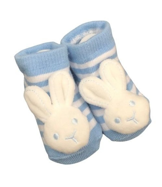 BUNNY SOCKS WITH RATTLE 0-6MONTHS - BLUE