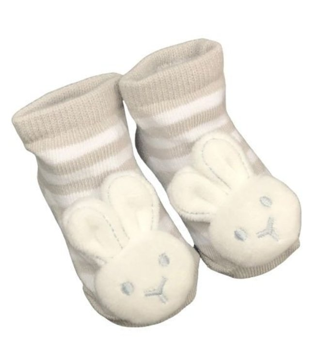 BUNNY SOCKS WITH RATTLE 0-6MONTHS - GREY