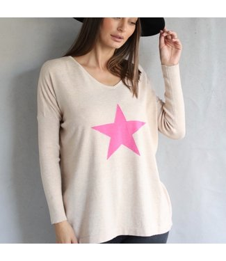 LOVE LILY RUBY STAR KNIT - OATMEAL/PINK