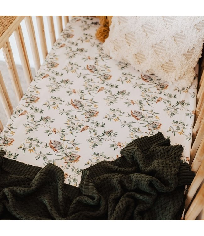 SNUGGLE HUNNY KIDS EUCALYPT - FITTED COT SHEET