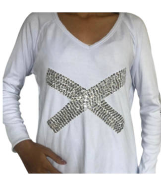 PHOEBE WHITE SEQUIN PULLOVER
