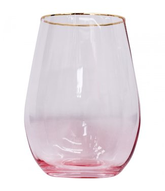 WATER/WINE GLASS - ROSE/GOLD