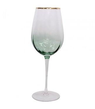 WINE GLASS - EMERALD/GOLD