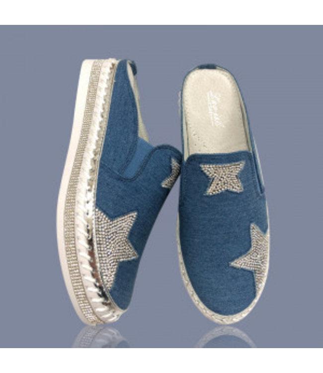 Lav-Ish DARK DENIM BLUE BLING STAR SLIDES