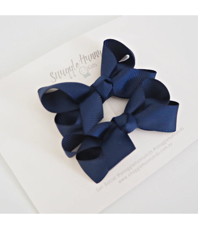 SNUGGLE HUNNY KIDS NAVY PIGGY TAIL BOWS - SMALL