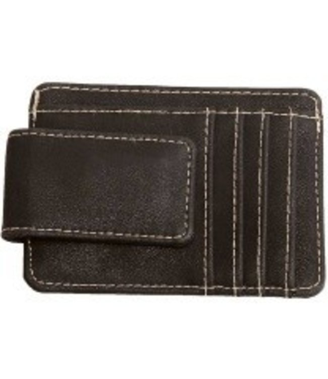 MONEY CLIP WITH CARD SLOT - BROWN
