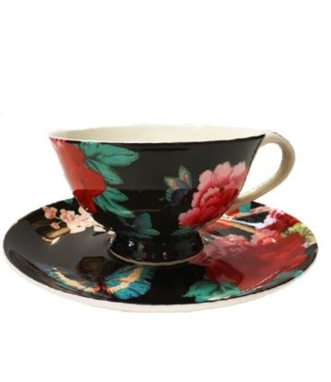 Anna Chandler Designs BLACK CHINOISERIE CUP/SAUCER