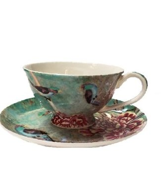 Anna Chandler Designs TURQUOISE CHINOISERIE CUP/SAUCER