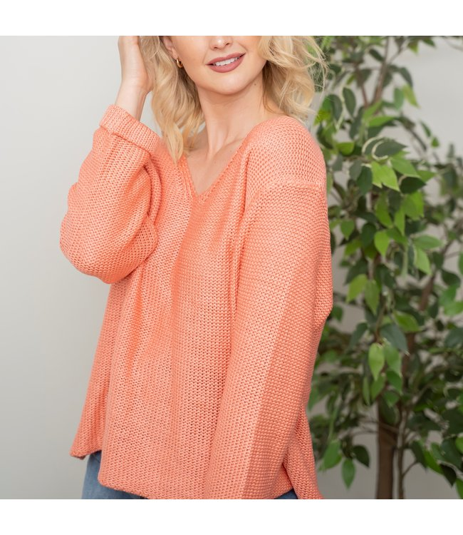 REESE KNIT TOP - CORAL