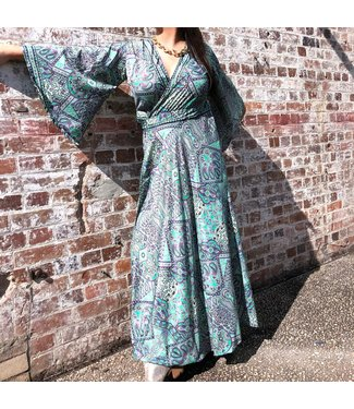 ANTONIA MAXI WRAP DRESS - PURPLE & GOLD