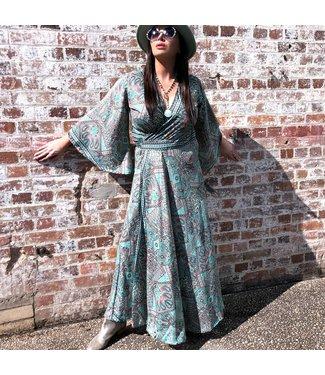 ANTONIA MAXI WRAP DRESS - GREEN & GOLD